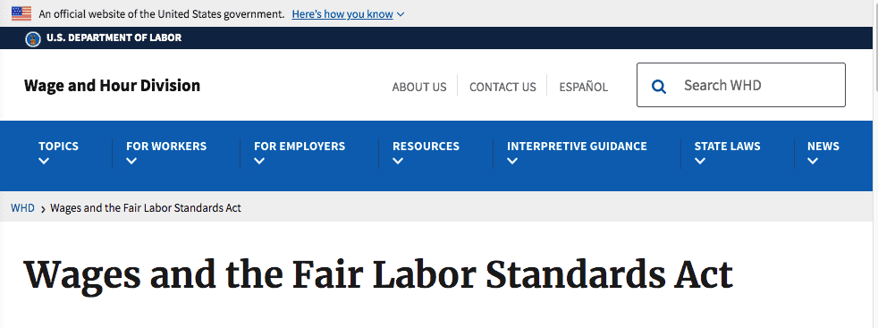 Wages and the Fair Labor Standards Act. Wage and Hour Division