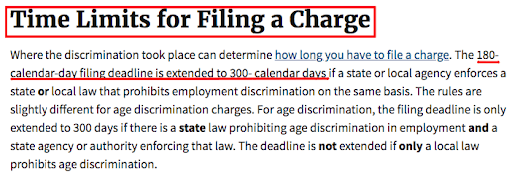 These are the time Limits for filing a charge. Information from Discrimination Lawyers