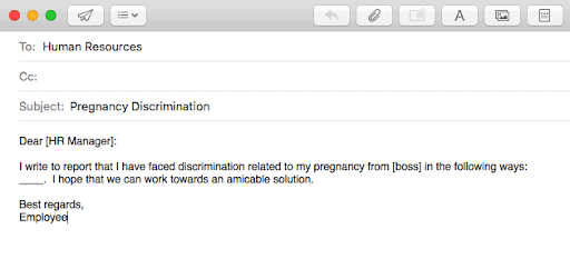 An email example of a letter to HR about Pregnancy Discrimination. Information from pregnancy discrimination lawyer