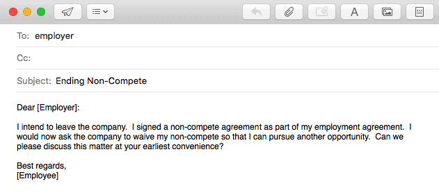 Sample email to employer. Non-compete lawyers will help you draft a letter to your employer.