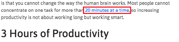 the average worker is only productive for 3 hours a day and only can concentrate for 20 minutes at a time. Wage and Hour