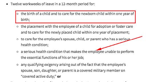 Represents circumstances for FMLA leave. FMLA PA